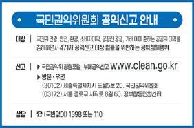 국민권익위원회 공익신고 안내.