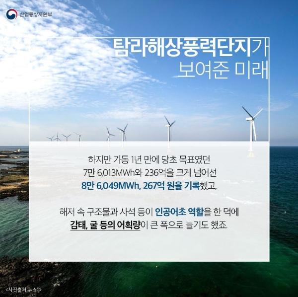 탐라해상풍력단지로부터 확인한 우리나라 해상풍력발전의 가능성(출처=정책브리핑).