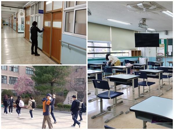 교사의 방역업무 경감을 위해 방역요원이 배치돼 활약하고 있다.