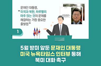 5월 방미 앞둔 문재인 대통령 미국 뉴욕타임스 인터뷰 통해 북미 대화 촉구