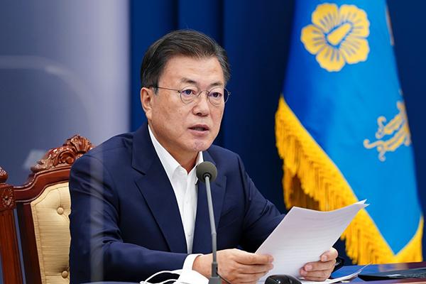 문재인 대통령이 3일 오후 청와대에서 열린 코로나19 대응 특별방역점검회의에서 발언하고 있다. (사진=청와대)