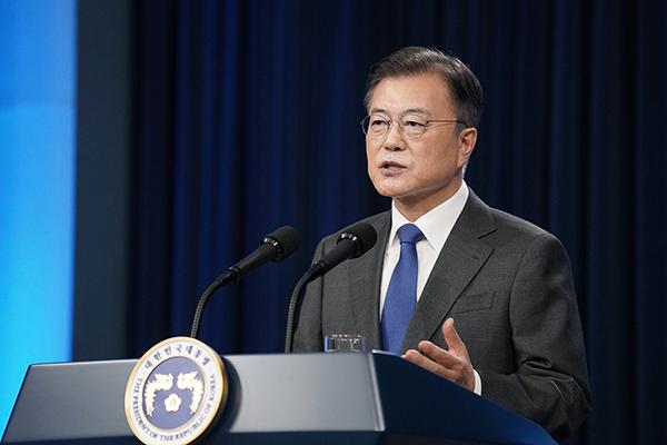 문재인 대통령이 10일 청와대 춘추관 대브리핑룸에서 취임 4주년 특별연설을 하고 있다. (사진=청와대)