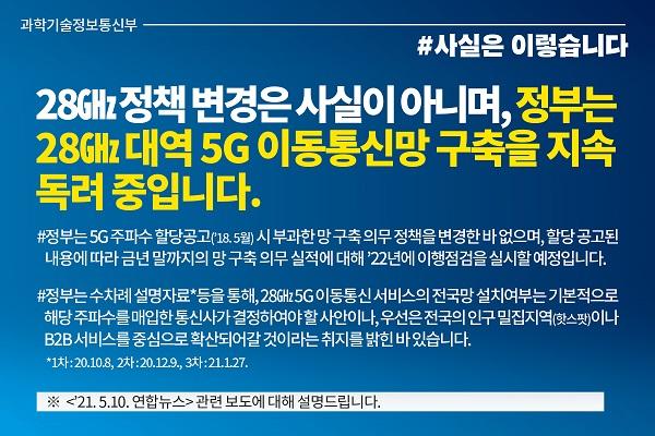 28㎓ 정책 변경 사실 아냐 내용의 카드뉴스 이미지.