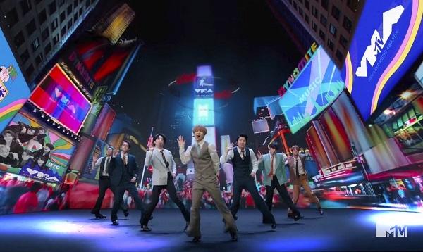 '2020 MTV 비디오 뮤직 어워즈'에서 무대를 펼친 방탄소년단(BTS).(사진=저작권자(c) 연합뉴스, 무단 전재-재배포 금지)