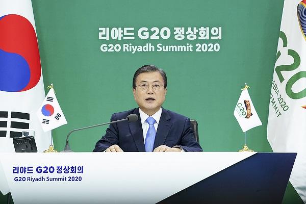 문재인 대통령이 작년 11월 21일 오후 청와대에서 G20 정상회의에 참석해 발언하고 있다. (사진=청와대)