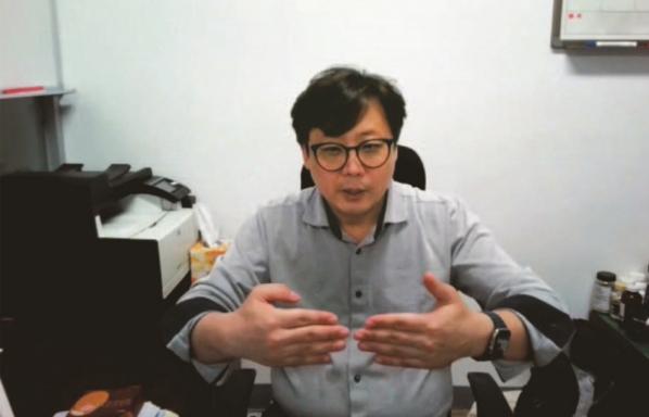 정상권 대표 화상 인터뷰 갈무리.