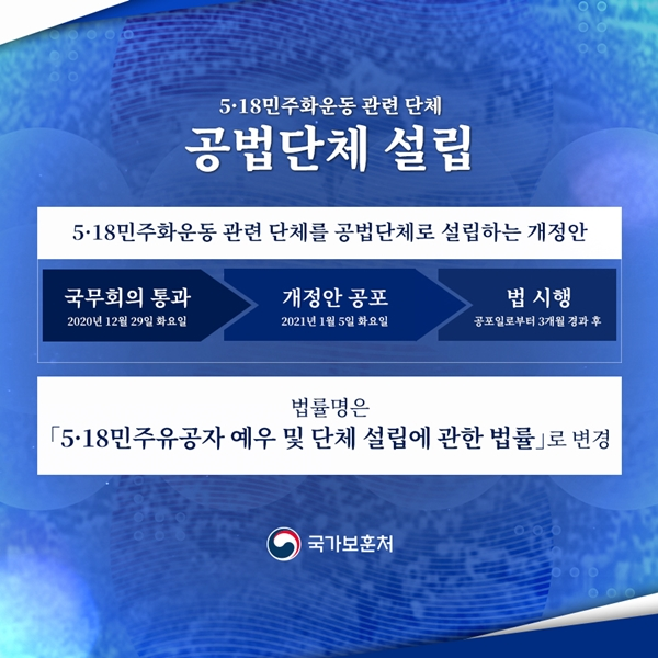5.18 민주유공자 예우 및 단체 설립에 관한 법률 개정안 카드뉴스(출처=정책브리핑)