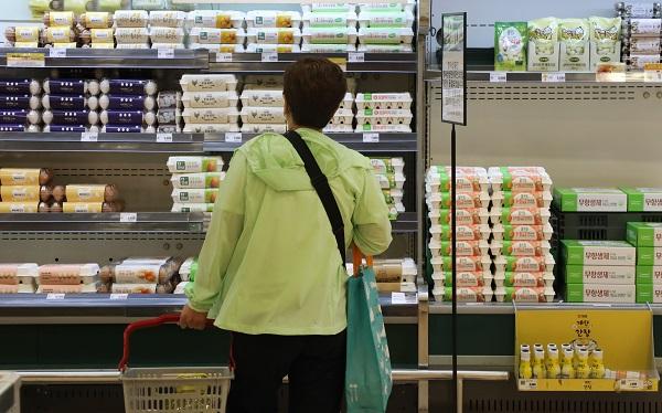 18일 서울 한 대형마트에서 달걀을 판매하고 있다. 이날 농식품부는 달걀, 대파 등 평년보다 높은 가격이 예상되는 농축산물 가격 안정을 위한 '농축산물 수급 대책반' 회의를 개최했다. 달걀의 경우 이달 중 추가 수입 등 필요한 조처를 할 예정이다.(사진=저작권자(c) 연합뉴스, 무단 전재-재배포 금지)