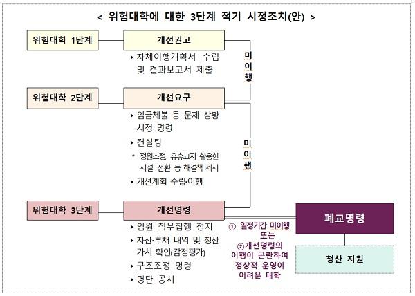 위험대학에 대한 3단계 적기 시정조치(안)