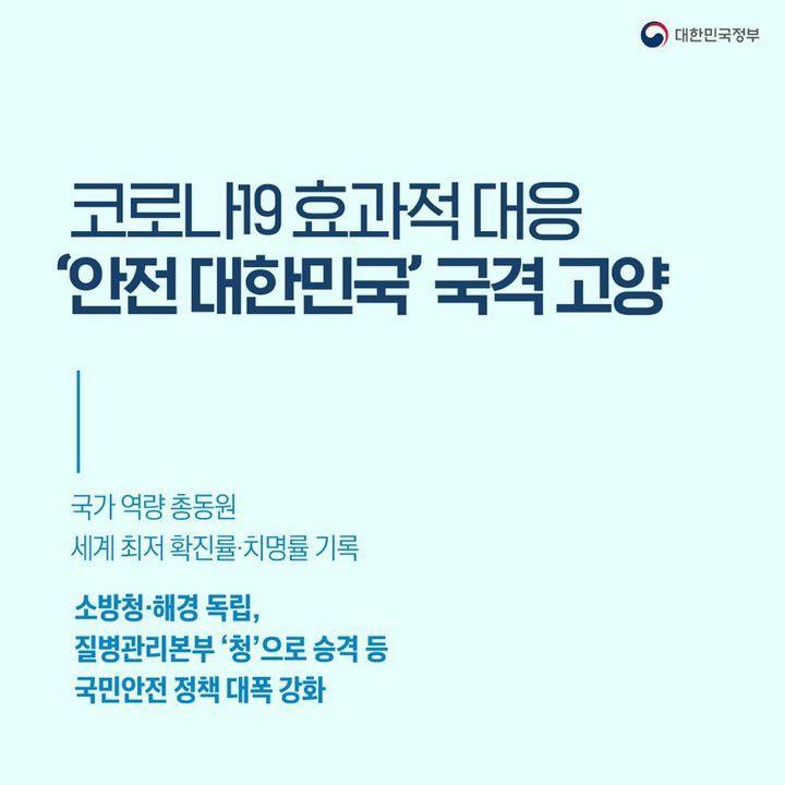 코로나19 효과적 대응 '안전 대한민국' 국격 고양