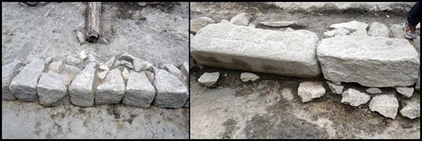일제강점기 존치석과 조선시대 돌 모양.