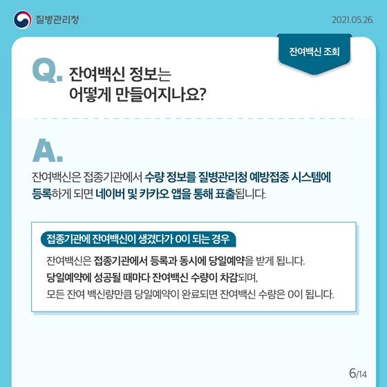 Q. 잔여백신 정보는 어떻게 만들어지나요?