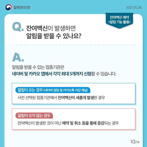Q. 잔여백신이 발생하면 알림을 받을 수 있나요?