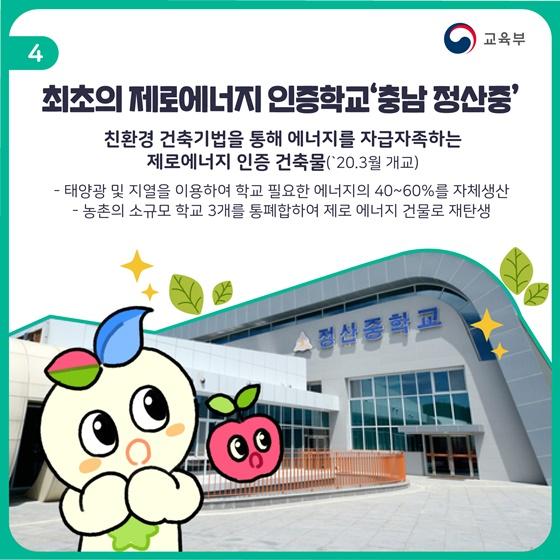 최초의 제로에너지 인증학교 '충남 정산중'