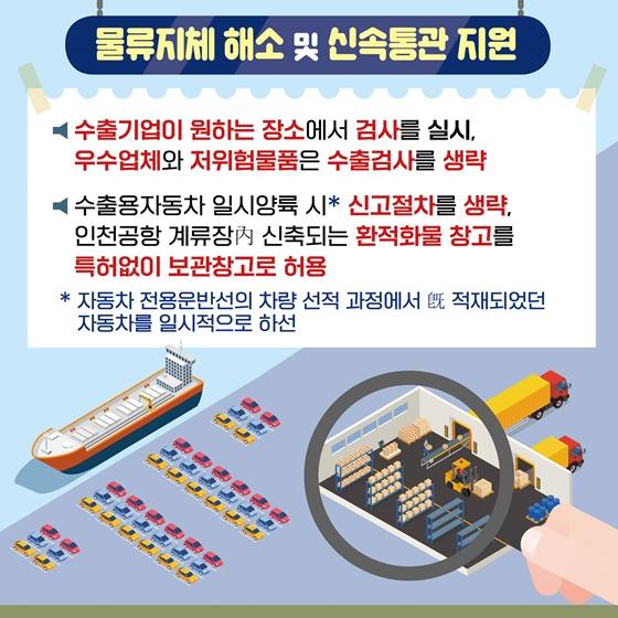 물류지체 해소 및 신속통관 지원