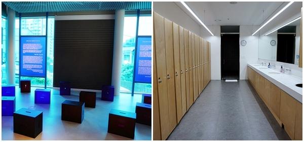 2층 전시 공간과 1층 탈의실.