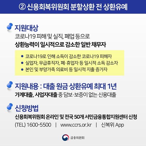 2. 신용회복위원회 분할상환 전 상환유예