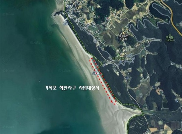 충남 태안군 안면읍 창기리 기지포 해변 일원 사업 위치도.