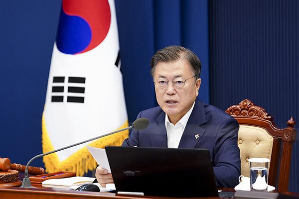 문재인 대통령이 22일 오전 청와대에서 열린 국무회의에서 발언하고 있다. (사진=청와대)