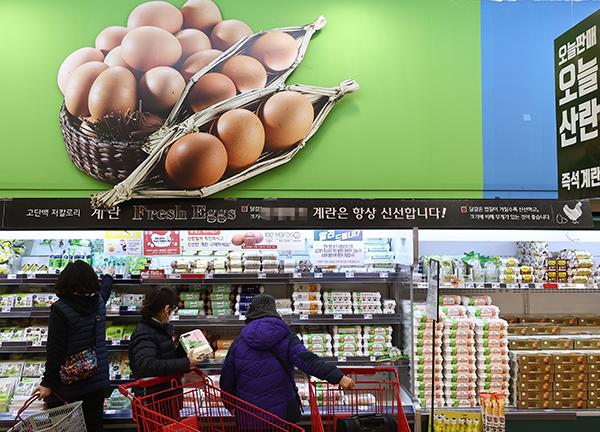 서울 시내 한 대형마트 달걀 판매대. (사진=저작권자(c) 연합뉴스, 무단 전재-재배포 금지)