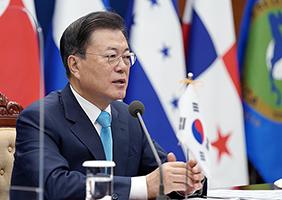 문재인 대통령이 25일 오전 청와대에서 화상으로 열린 제4차 한-중미통합체제(SICA) 정상회의에서 발언하고 있다. (사진=청와대)