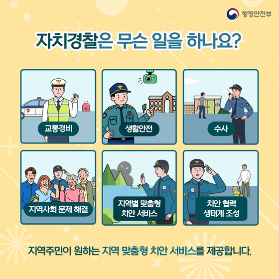 자치경찰은 무슨 일을 하나요? 교통경비, 생활안전, 수사, 지역사회 문제 해결 지역별 맞춤형 치안서비스, 치안 협력 생태계 조성