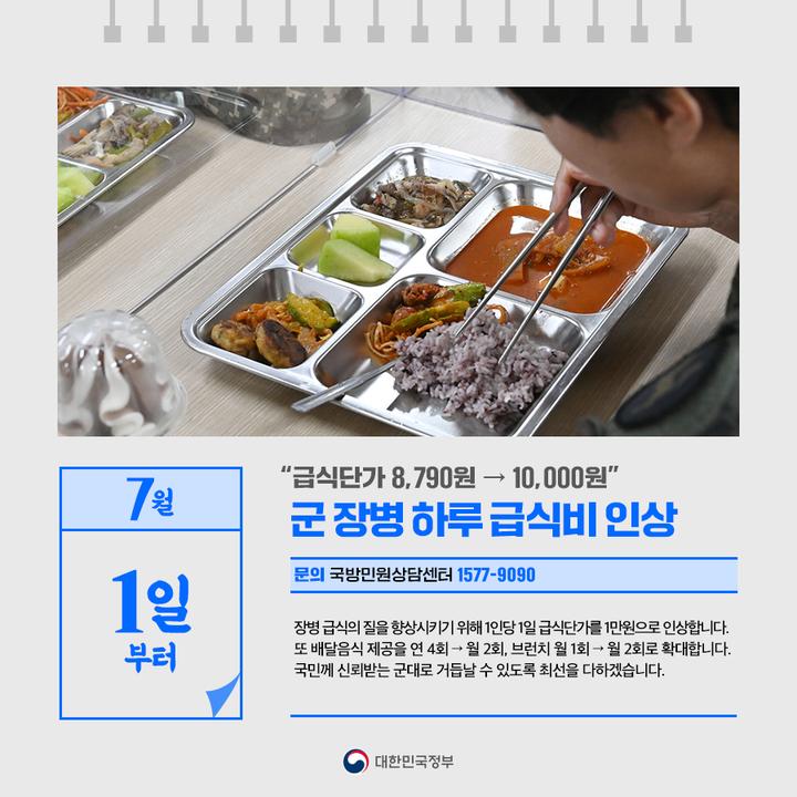 """7월 1일부터 """"급식단가 8790원 → 10000원"""" 군장병 하루 급식비 인상"""