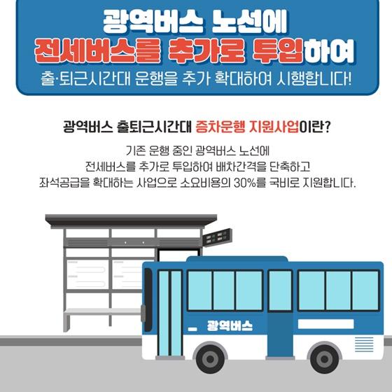 광역버스 노선에 전세버스를 추가로 투입하여 출·퇴근 시간대 운행을 추가 확대하여 시행합니다!