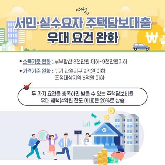 서민·실수요자 주택담보대출 우대 요건 완화