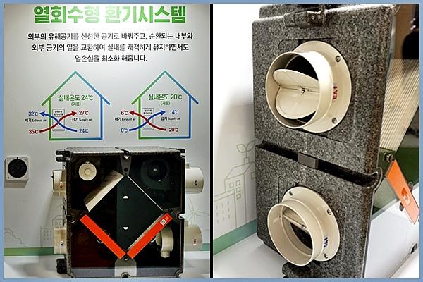 열회수형환기시스템(왼쪽)과 가까이서 본 강력한 환기효과(오른쪽).