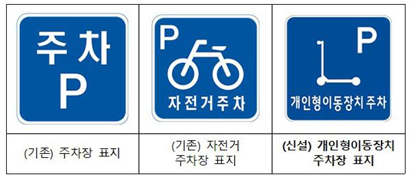 신설되는 개인형이동장치 주차장 표지