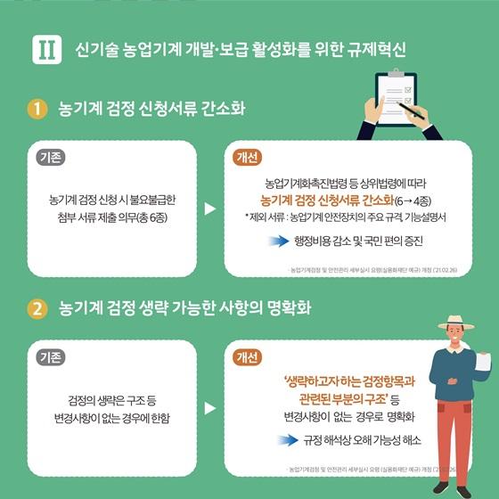 [II] 신기술 농업기계 개발·보급 활성화를 위한 규제혁신