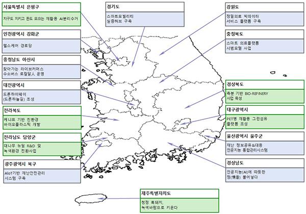 지역균형 뉴딜 우수사업 공모 선정지역 및 사업 내용