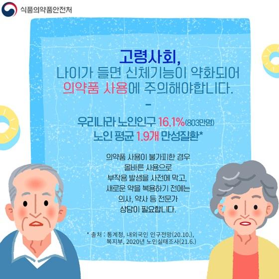 고령사회, 나이가 들면 신체기능이 약화되어 의약품 사용에 주의해야 합니다.