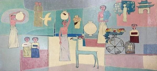김환기의 <여인들과 항아리>(1950년대).