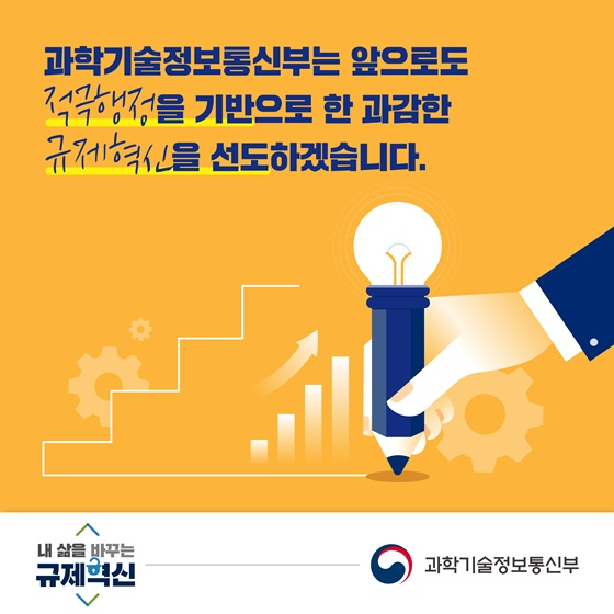 과학기술정보통신부는 앞으로도 적극행정을 기반으로 한 과감한 규제혁신을 선도하겠습니다.