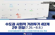 수도권 사회적 거리두기 4단계 2주 연장(7.26.~8.8.)