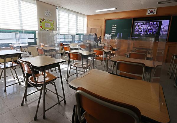 서울의 한 초등학교에서 원격 수업이 이뤄지고 있는 모습. (사진=저작권자(c) 연합뉴스, 무단 전재-재배포 금지)