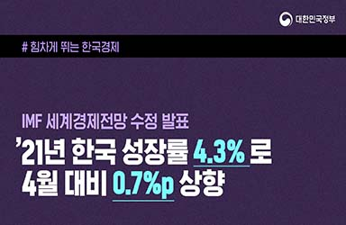 '21년 한국 성장률 4.3%로 4월 대비 0.7%p 상향