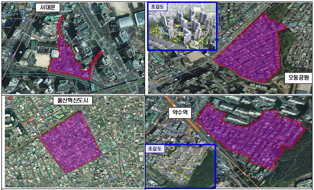 6차 발표 선도사업 구역도(4곳).