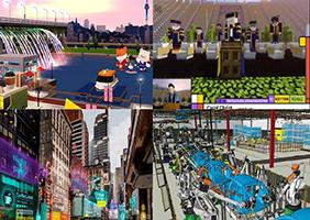 메타버스 서비스 사례.(왼쪽위부터 시계방향)소셜형 '제페토', 게임형 '마인크래프트', 산업활용형 '가상공장', 경험확장형 '증강도시'.