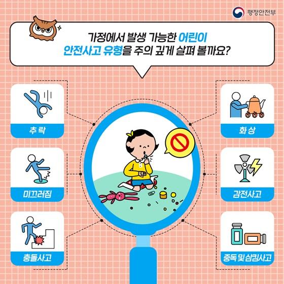 가정에서 발생 가능한 어린이 안전사고 유형을 주의 깊게 살펴 볼까요?