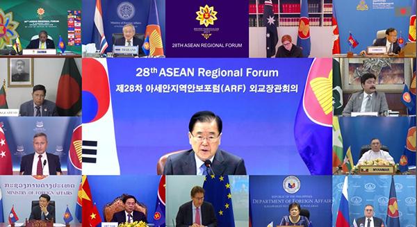 정의용 외교부 장관이 지난 6일 저녁 화상으로 개최된 아세안지역안보포럼(ARF) 외교장관회의에 참석해 발언하고 있다.(사진=외교부)