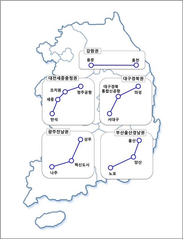 4차망 계획 비수도권 광역철도 선도사업 노선도