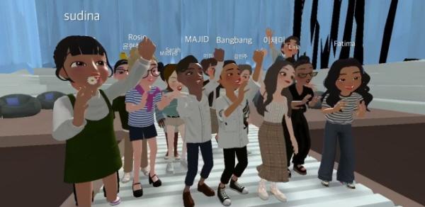 5일 유튜브로 중계된 코이카(KOICA) 서포터스 '위코' 발대식에서 참가자들이 환호하고 있다. 이들 120명은 네이버의 메타버스 플랫폼인 제페토를 이용해 만들어진 3D 캐릭터의 모습으로 참여했다.