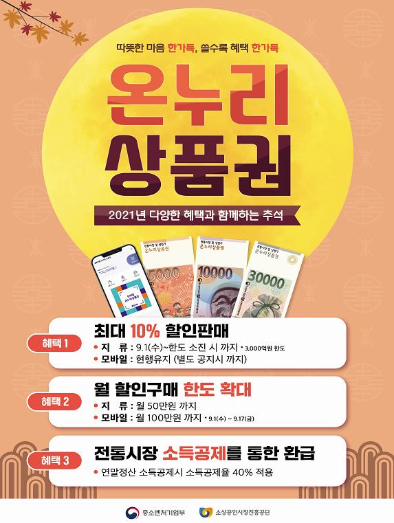 온누리상품권 추석 특별판매 홍보물.
