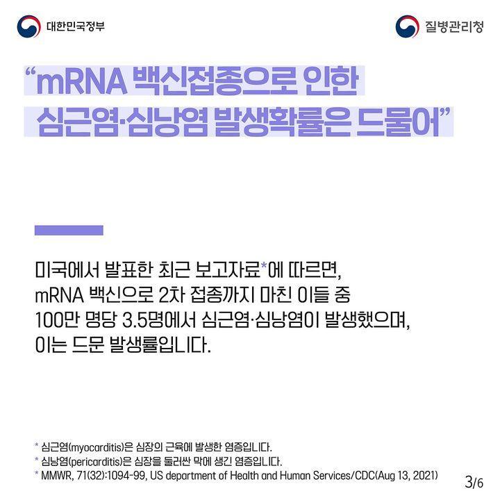"""""""mRNA 백신접종으로 인한 심근염·심낭염 발생확률은 드물어"""""""