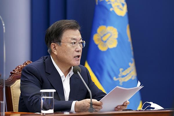 문재인 대통령이 6일 청와대에서 열린 수석보좌관회의에서 발언하고 있다. (사진=청와대)