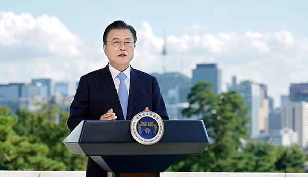 문재인 대통령이 7일 제2회 푸른 하늘의 날을 맞아 녹화된 영상을 통해 기념메시지를 전하고 있다. (사진=청와대)