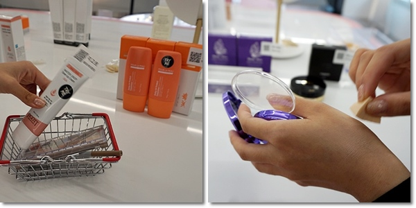 원하는 화장품을 바구니에 담아와 거울 앞에서 테스트해볼 수 있다.